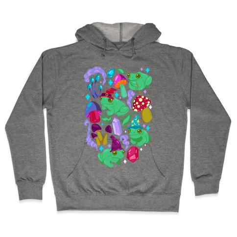 Magical Mushroom Frogs Pattern Hooded Sweatshirt