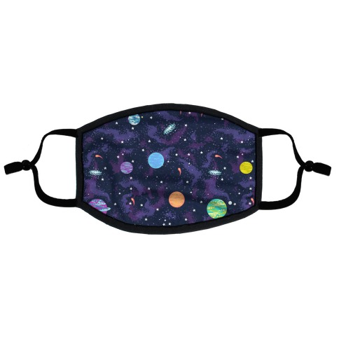 90s Cosmic Planet Flat Face Mask