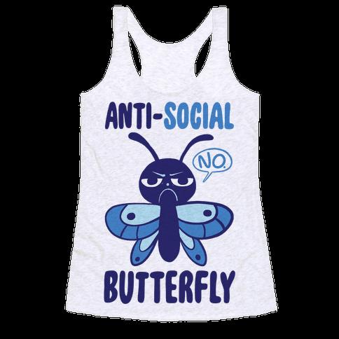 Anti-Social Butterfly  Racerback Tank Top