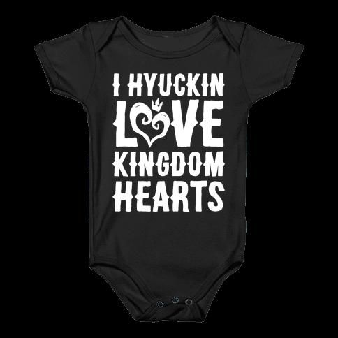 I Hyuckin Love Kingdom Hearts Parody White Print Baby Onesy