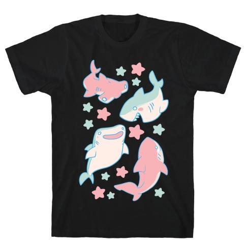 Happy Shark Pattern T-Shirt