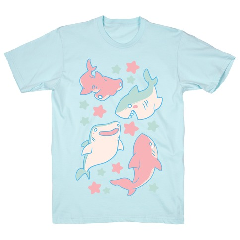 Happy Shark Pattern T-Shirt