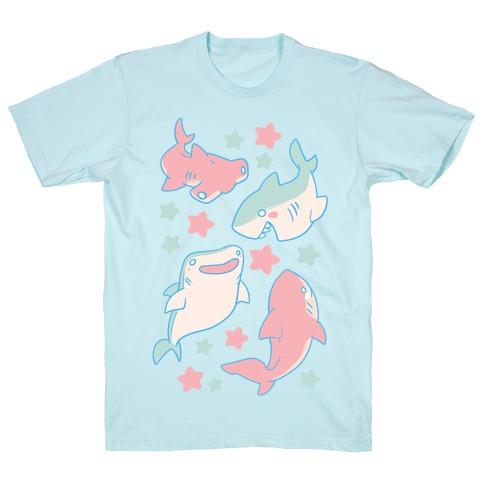 Happy Shark Pattern  Mens T-Shirt