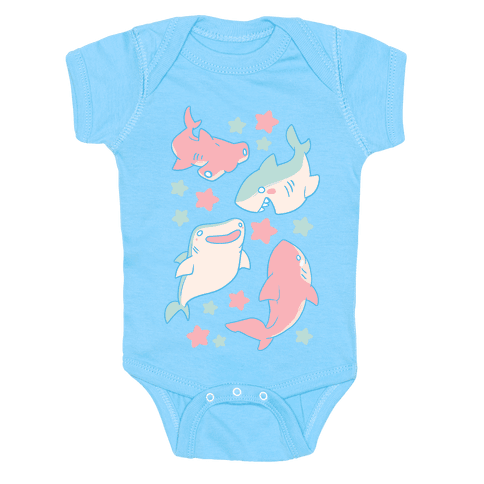 Happy Shark Pattern  Baby Onesy