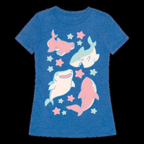 Happy Shark Pattern  Womens T-Shirt