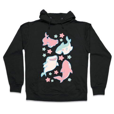 Happy Shark Pattern  Hooded Sweatshirt
