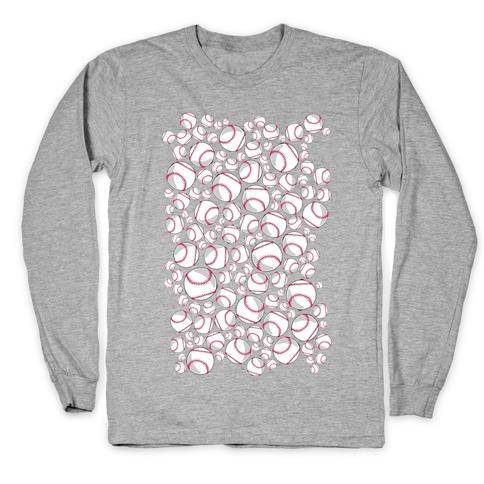 Baseballs Pattern Long Sleeve T-Shirt