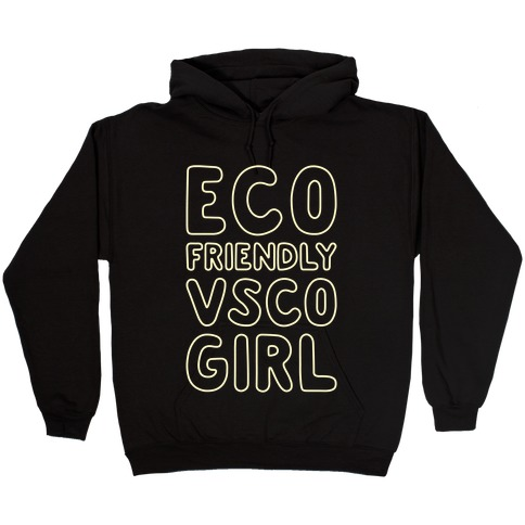 Eco Friendly VSCO Girl White Print Hooded Sweatshirt