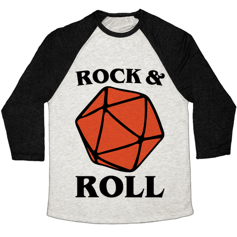 Rock and Roll D & D Parody Baseball Tee