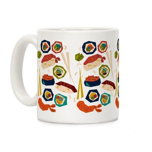 Mid-Century Modern Sushi Pattern Coffee Mug