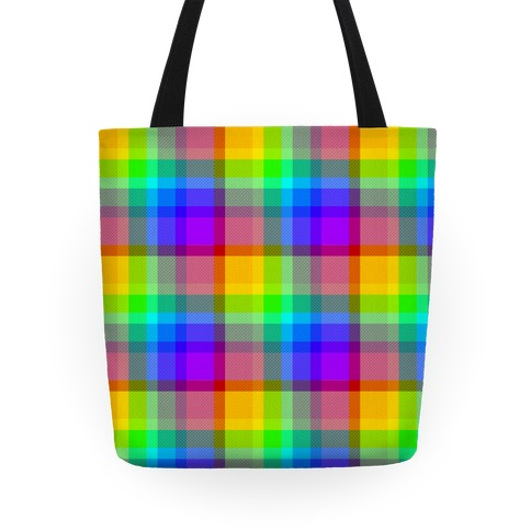 Rainbow Plaid Tote