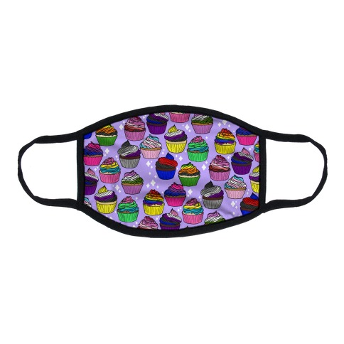 LGBTQ+ Cartoon Cupcakes Flat Face Mask