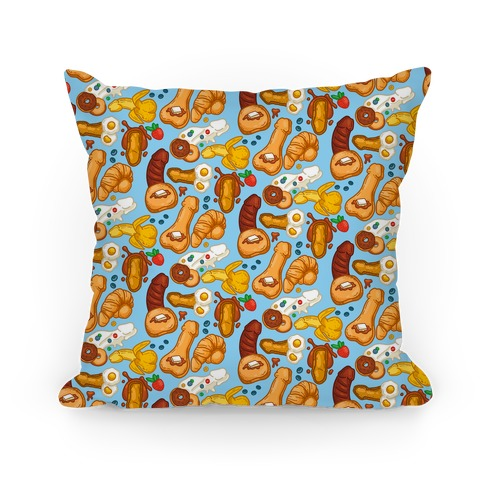 Phallic Breakfast Pattern Pillow