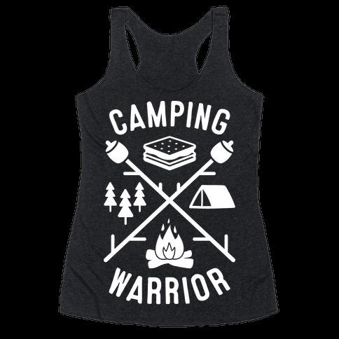 Camping Warrior (White) Racerback Tank Top