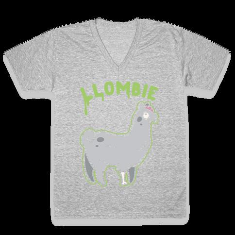 Llombie White Print V-Neck Tee Shirt
