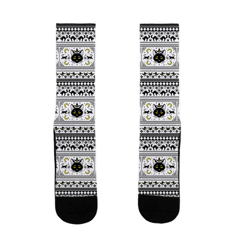 Witchy Black Cats Ugly Sweater Sock