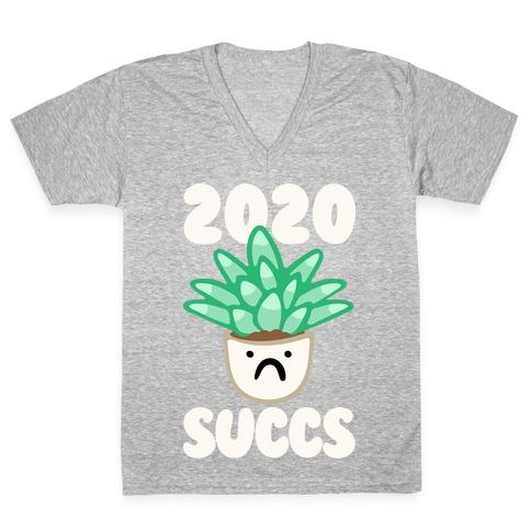 2020 Succs White Print V-Neck Tee Shirt