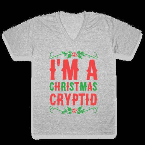I'm a Christmas Cryptid  V-Neck Tee Shirt