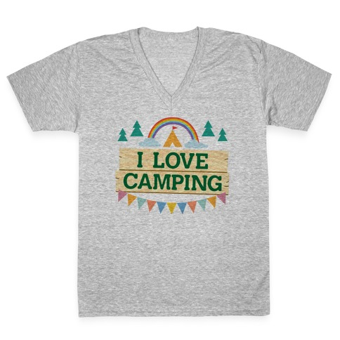 I Love Camping (Pocket Camp Parody) V-Neck Tee Shirt