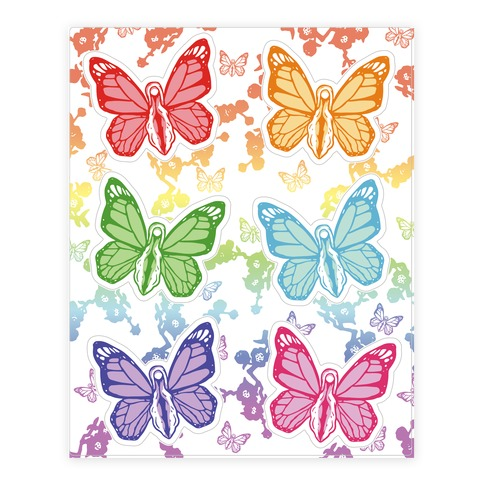 Butterfly Vagina Pattern Sticker/Decal Sheet