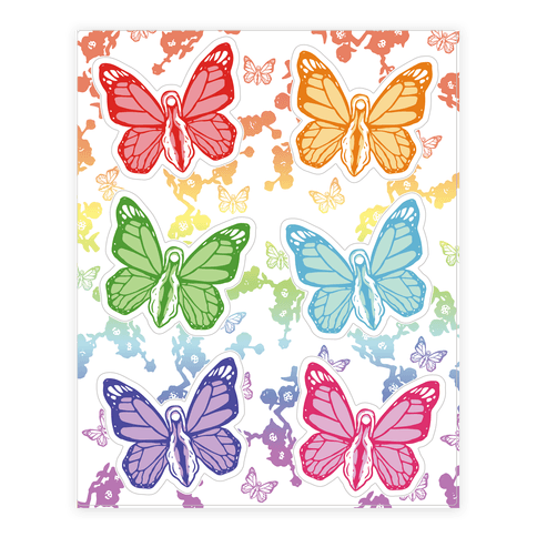 Butterfly Vagina Pattern Sticker and Decal Sheet
