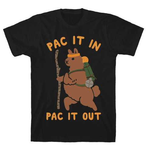 Pac It In Pac It Out Backpacking Alpaca Mens/Unisex T-Shirt