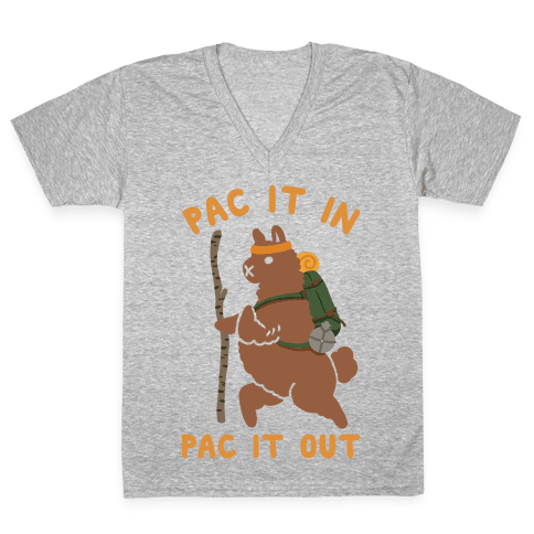 Pac It In Pac It Out Backpacking Alpaca V-Neck Tee Shirt