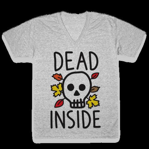 Dead Inside Autumn Skull V-Neck Tee Shirt