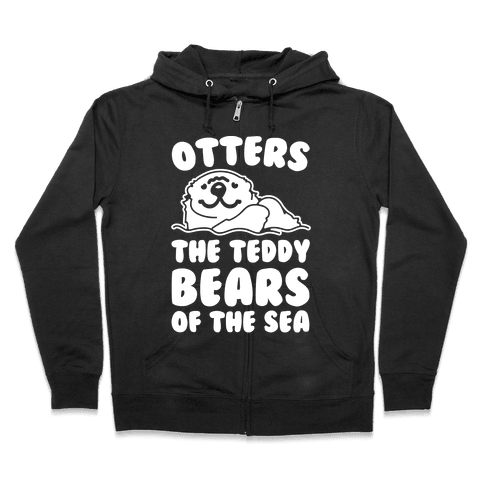 Otters The Teddy Bears of The Sea White Print Zip Hoodie