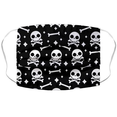 Cute Skull N' Bones Pattern (Black) Accordion Face Mask