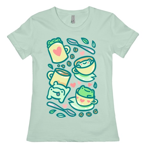 Coffee And Tea Frogs Womens T-Shirt