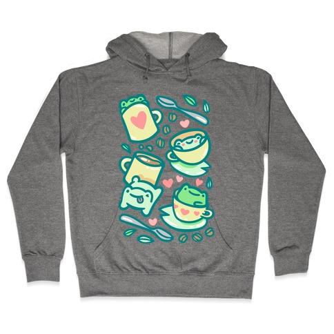 Coffee And Tea Frogs Hooded Sweatshirt