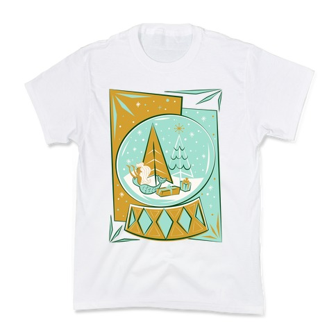 Mid-Century Modern Mermaid Holiday Snow Globe Kids T-Shirt
