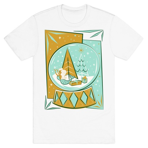 Mid-Century Modern Mermaid Holiday Snow Globe T-Shirt