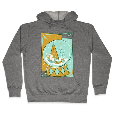 Mid-Century Modern Mermaid Holiday Snow Globe Hooded Sweatshirt