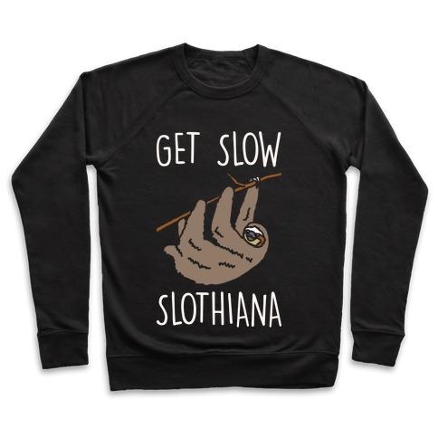 Get Slow Slothiana Parody White Print Pullover