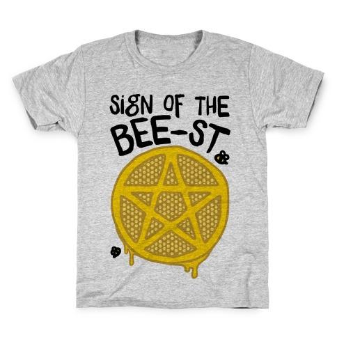 Sign Of the Bee-st Satanic Bee Parody Kids T-Shirt