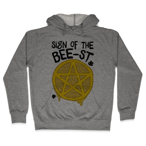 Sign Of the Bee-st Satanic Bee Parody Hooded Sweatshirt
