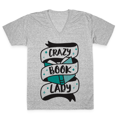 Crazy Book Lady V-Neck Tee Shirt