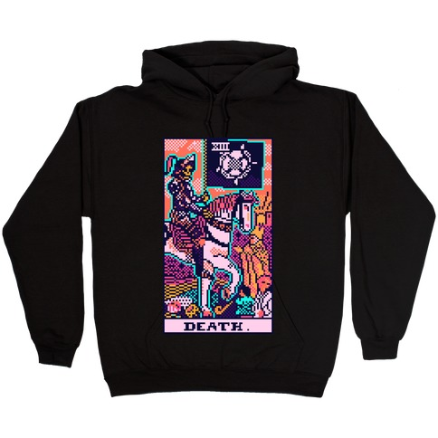 Pixelated Death Tarot Card Hooded Sweatshirt