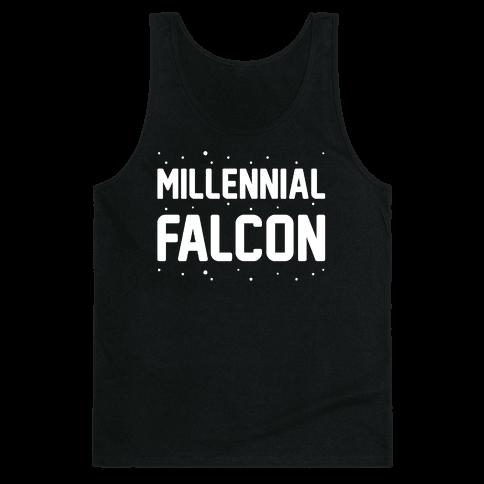 Millennial Falcon Parody White Print  Tank Top