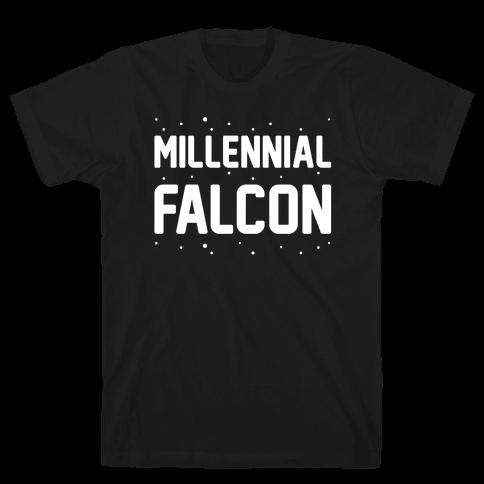 Millennial Falcon Parody White Print  Mens T-Shirt