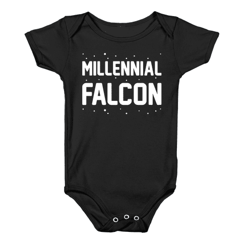 Millennial Falcon Parody White Print  Baby Onesy
