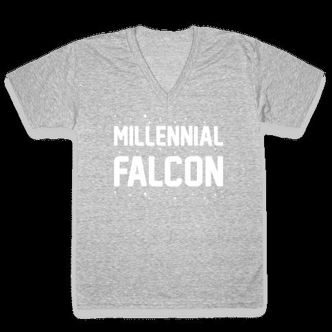 Millennial Falcon Parody White Print  V-Neck Tee Shirt