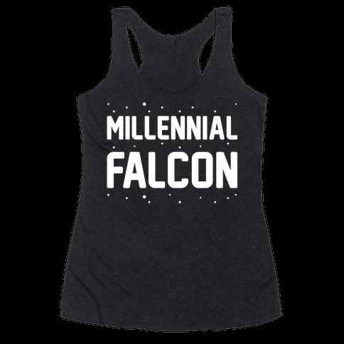Millennial Falcon Parody White Print  Racerback Tank Top