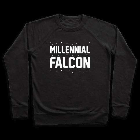 Millennial Falcon Parody White Print  Pullover