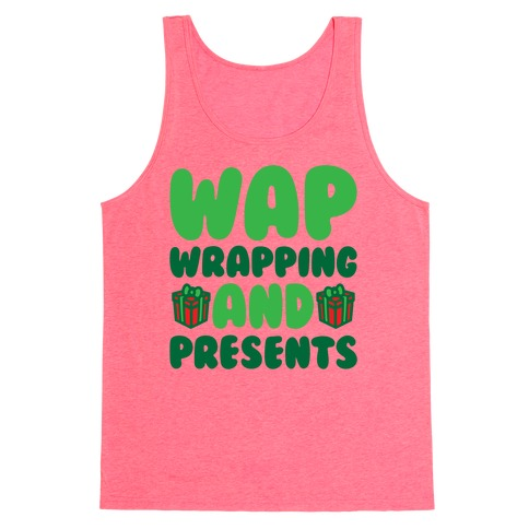 WAP Wrapping and Presents Parody White Print Tank Top