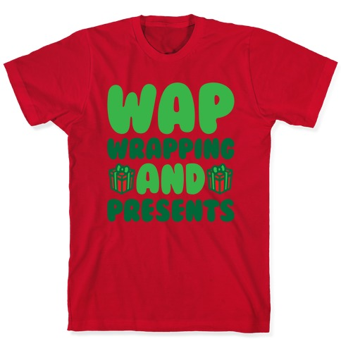 WAP Wrapping and Presents Parody White Print T-Shirt