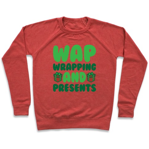 WAP Wrapping and Presents Parody White Print Pullover