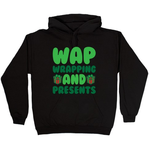 WAP Wrapping and Presents Parody White Print Hooded Sweatshirt